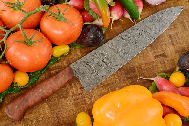 Chef Knife (8.9 in) with Twist Damascus and Bubinga