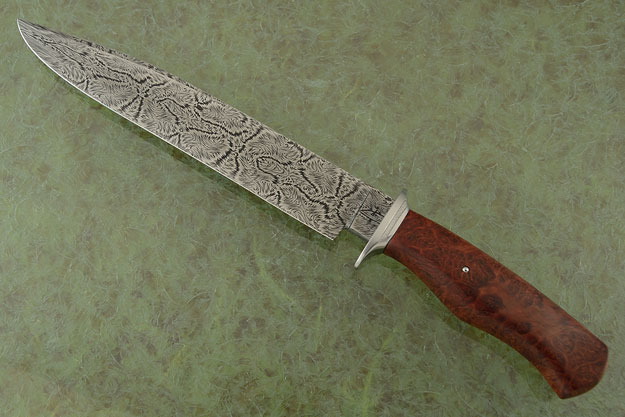 Explosion Damascus Bowie with Red Morrel Burl