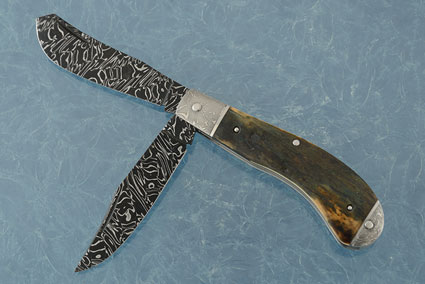 Damascus Two Blade Saddlehorn Trapper with Mammoth Ivory