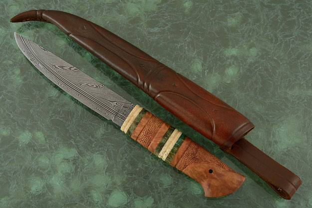 Damascus and Madrone Puukko