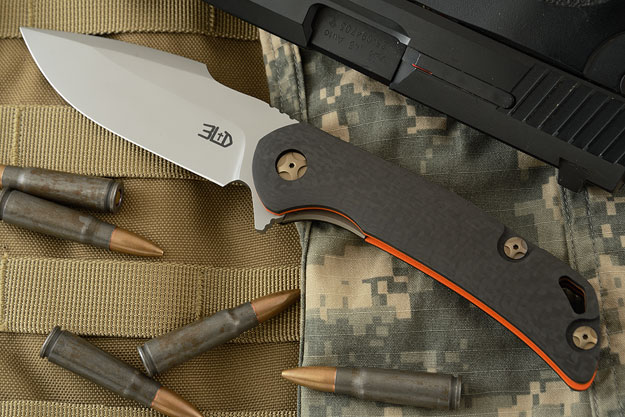 T-3 Flipper with Carbon Fiber and Orange G-10 (Ceramic IKBS)