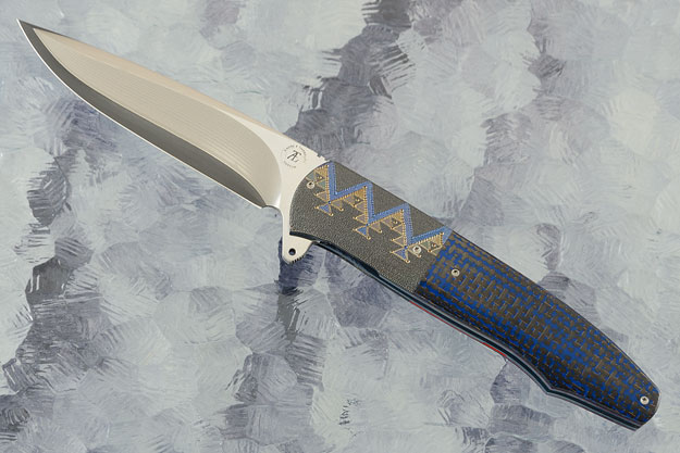 L20 Flipper with Blue Lightning Strike Carbon Fiber, Zirconium, and SG2 San Mai Damascus (Ceramic IKBS)
