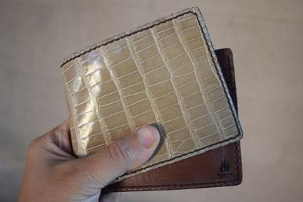Bifold Wallet with Café Au Lait Alligator