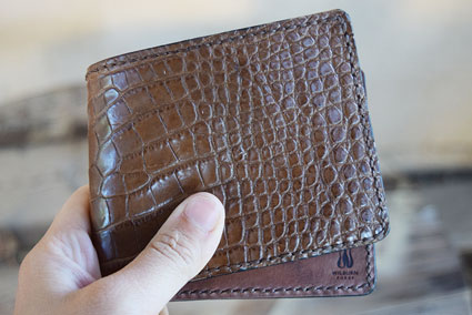 Bifold Wallet with Brown Alligator and Kangaroo Leather