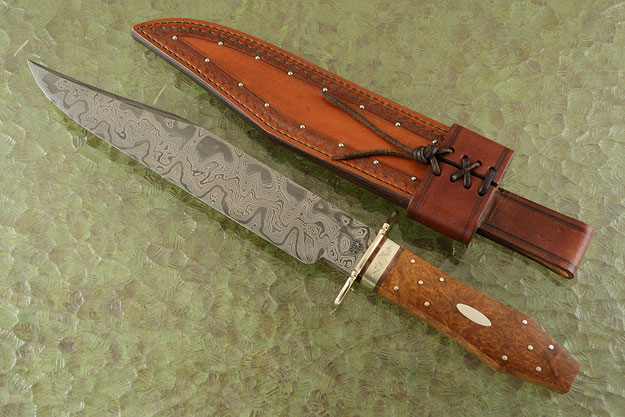 Coffin Bowie with Damascus and Mallee Burl