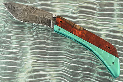 Kukri Folder with Damascus and Amboyna