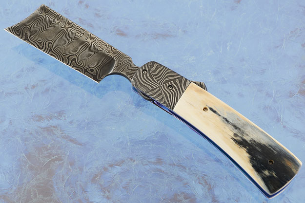 Damascus Butcher with Mammoth Ivory and Basketweave Damascus