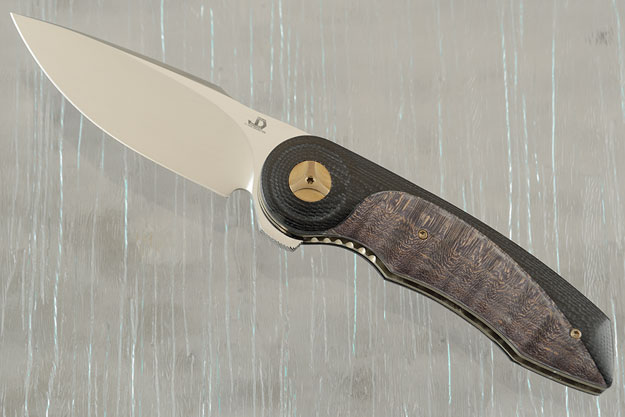 Gold Mini with Black G10 and Curly Maple Burl (IKBS)