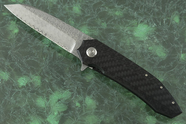 Bateleur Flipper with Damasteel and Carbon Fiber