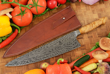 Feather Damascus Chef's Knife (10-1/2 in) with Oak Burl