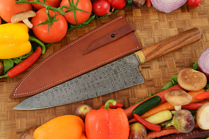 Damascus Chef Knife (10-3/4 in) - Gyuto - with Curly Koa
