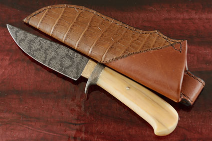 Mosiac Damascus Belt Knife with Ancient Walrus Ivory