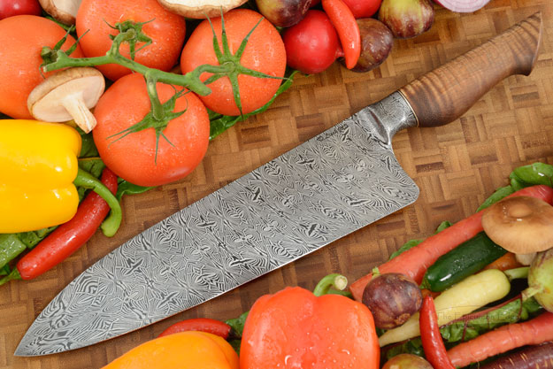 Workhorse Chef's Knife (10-2/3 in.) with Curly Koa and Integral Mosaic Damascus