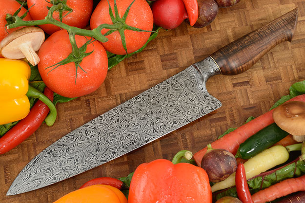 Chef's Knife (9-1/2 in.) with Curly Koa and Integral Mosaic Damascus
