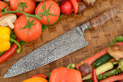 Chef's Knife (9-1/2 in.) with Spalted Curly Maple and Integral Mosaic Damascus