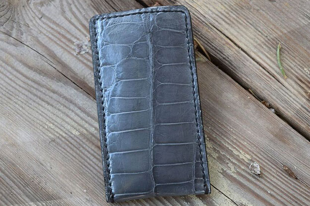 Folding Knife Pouch - Grey Alligator Leather with Shearling Lining