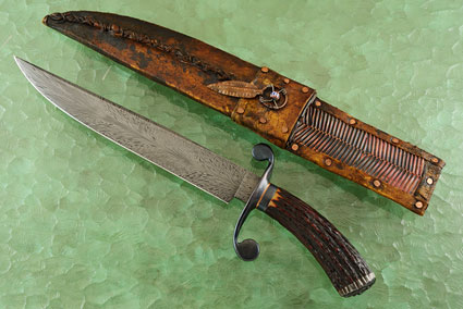 Feather Damascus S-Guard Bowie with Stag