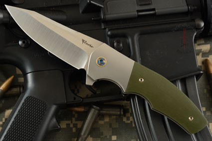 Crossroads Flipper with Green G10 and Titanium