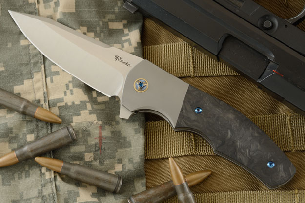 Crossroads Flipper with Marbled Carbon Fiber and Titanium