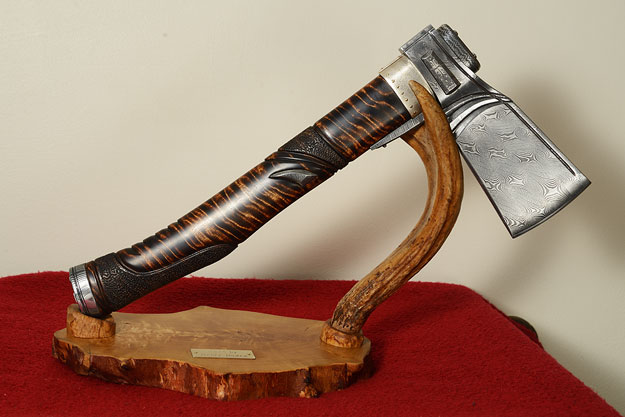 Nordic Damascus Axe with Curly Birch
