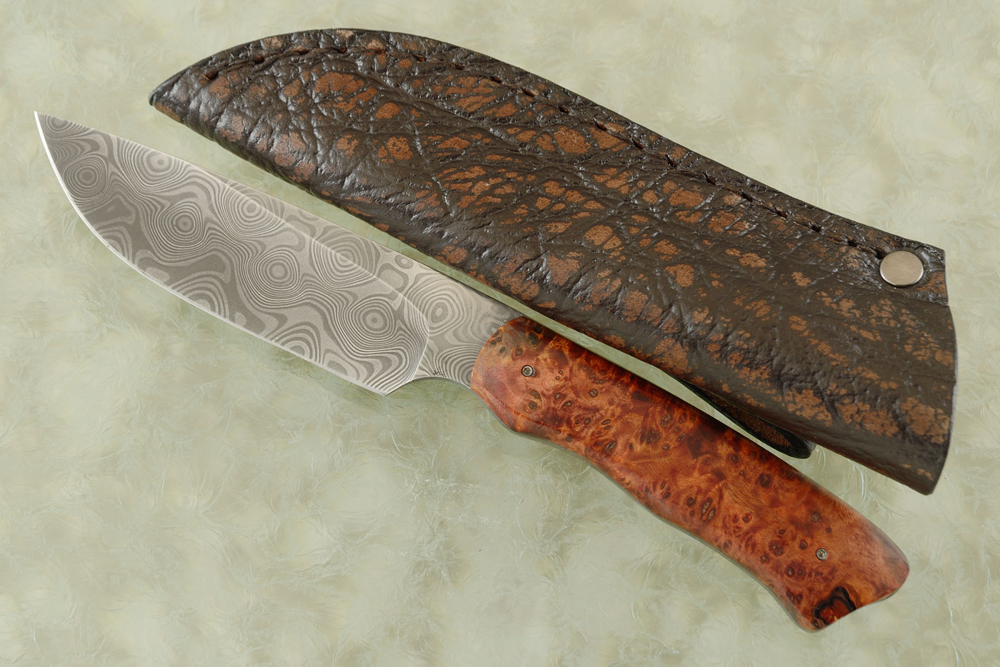 Drop Point Hunter with Maple Burl and Damascus