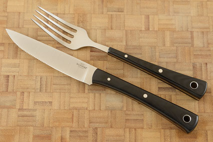 Fork and Serrated Knife Set with Black G-10