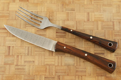 Stainless Damascus Fork and Knife Set with Ironwood