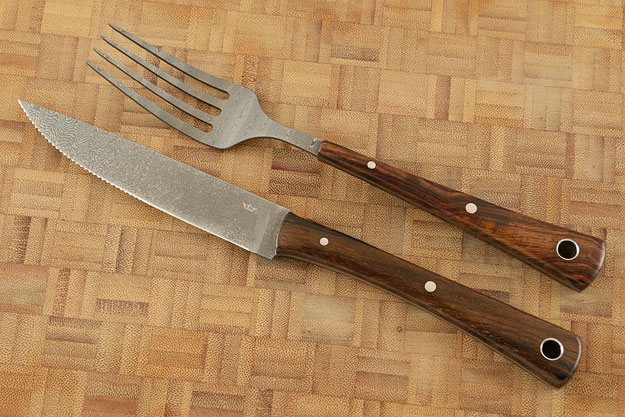 Stainless Damascus Fork and Serrated Knife Set with Ironwood