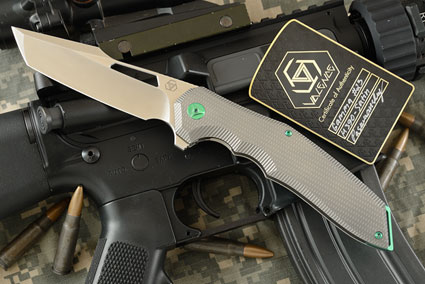 Gamma Flipper with Satin Finished M390 and Titanium - Green Anodized Accents (#23 of 100)