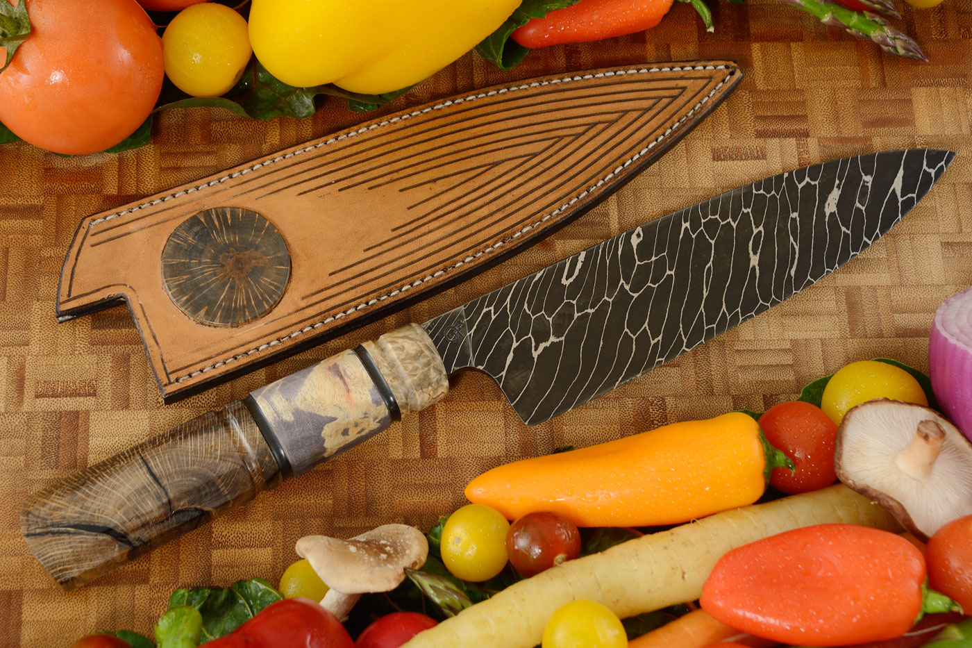 Damascus Chef Knife (7-3/4 in) with Birch, Mallee Burl, and Oak