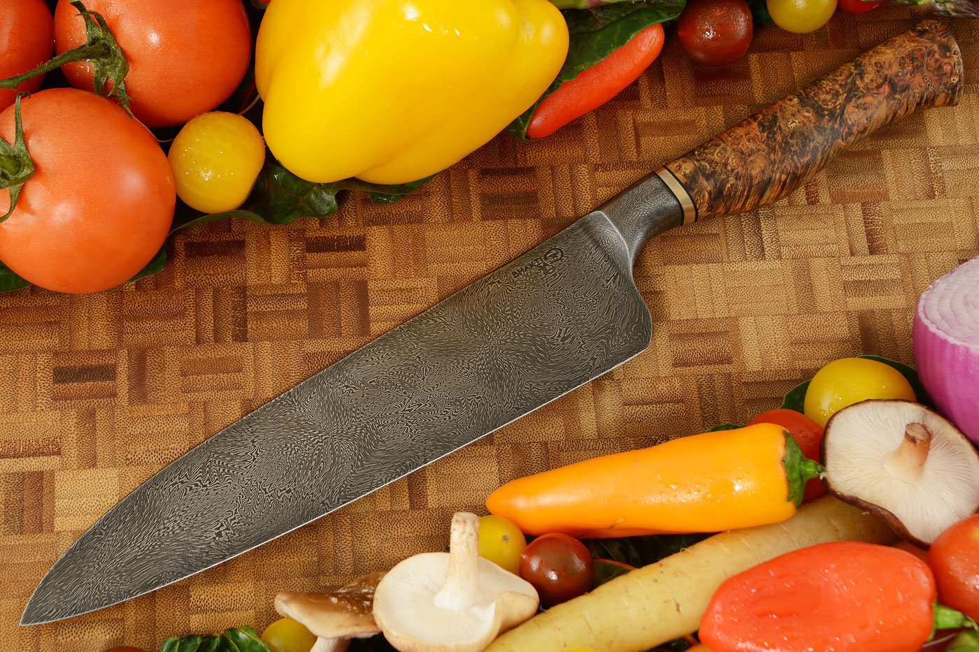 Integral Mosaic Damascus Chef's Knife (8 in) with Box Elder Burl