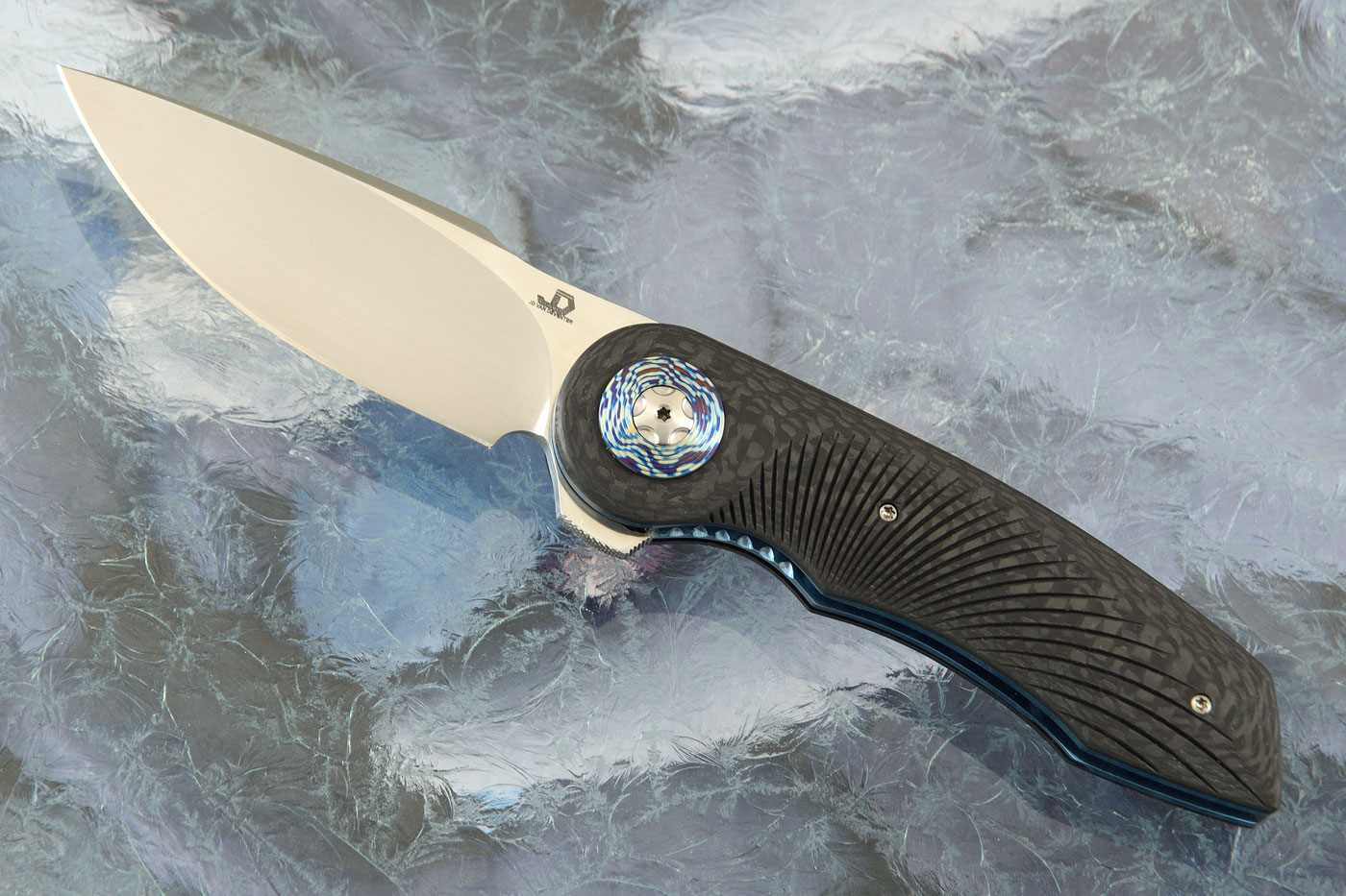 Gold Mini Flipper with Carbon Fiber and Timascus Pivot Collar (IKBS)