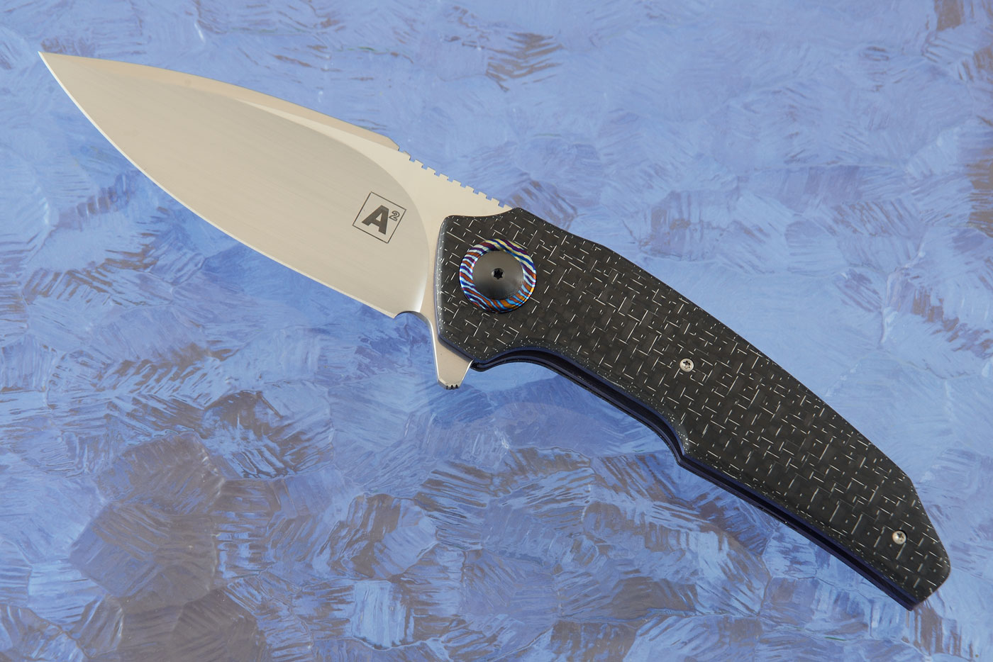 A6 Middi Flipper with Silver Strike Carbon Fiber and Timascus (Ceramic IKBS) - M390