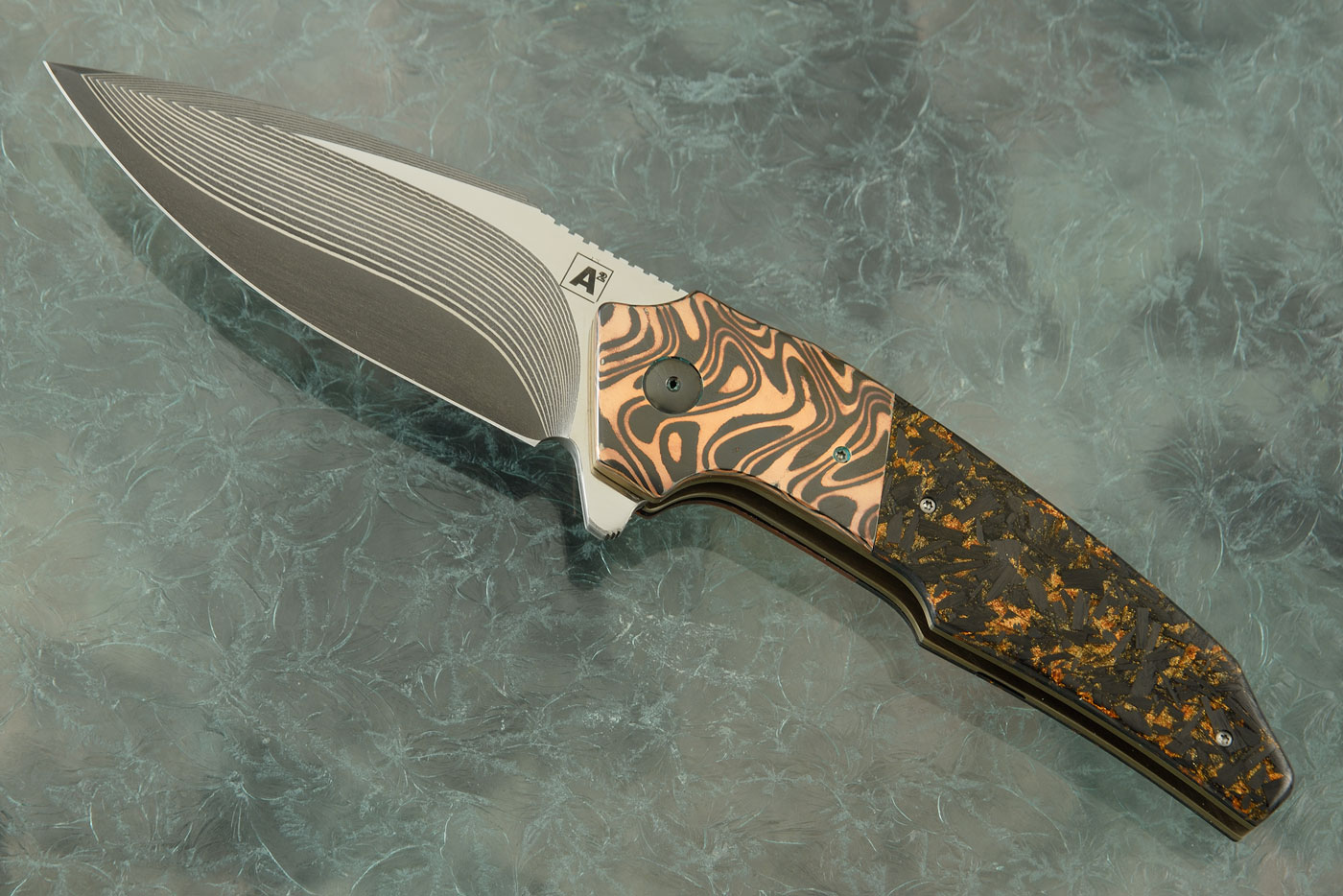 A6 Dress Flipper with Copper Shred Carbon Fiber, CuZr and SG2 Damascus San Mai (Ceramic IKBS)
