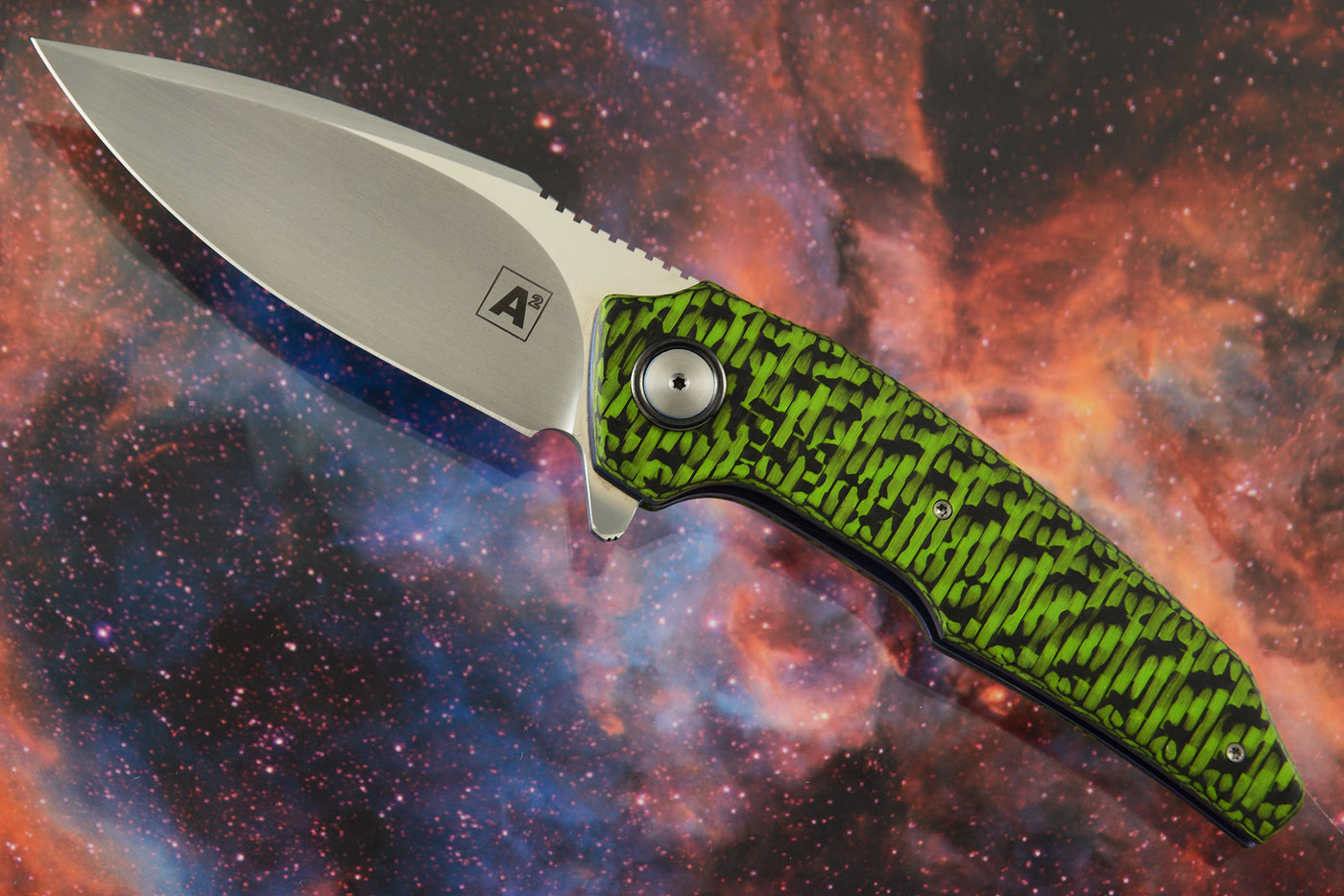 A6 Middi Flipper with Green/Black Carbon Fiber (Ceramic IKBS) - M390