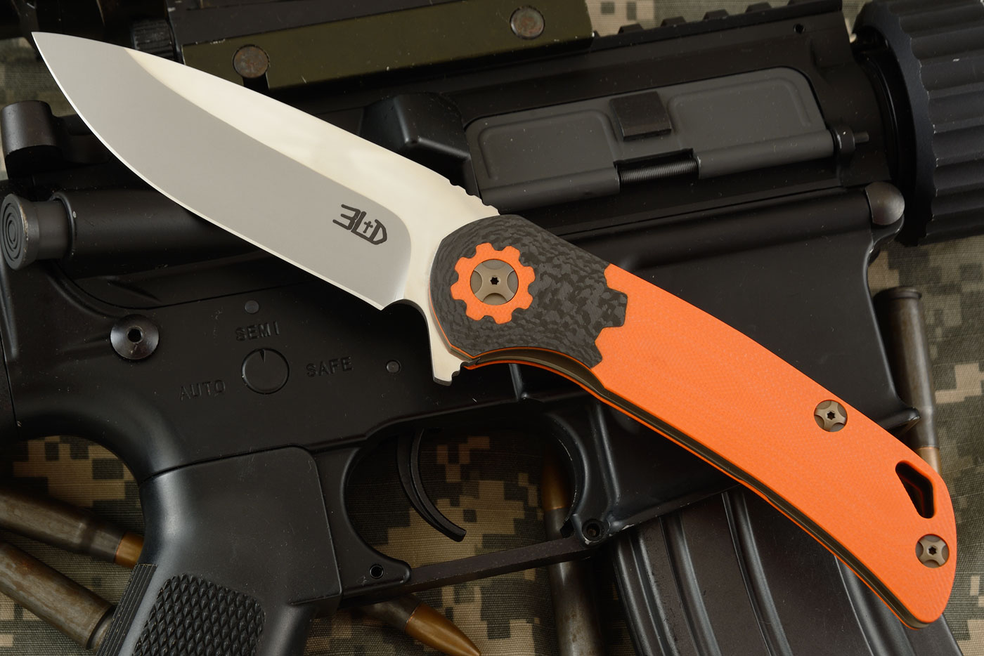 T3 Flipper - Torx - Orange G10 and Carbon Fiber (Ceramic IKBS) - ELMAX