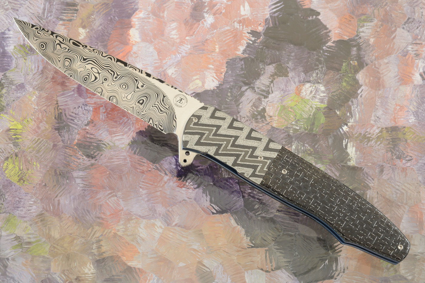 L20 Flipper with Damascus and Silver Strike Carbon Fiber (Ceramic IKBS)