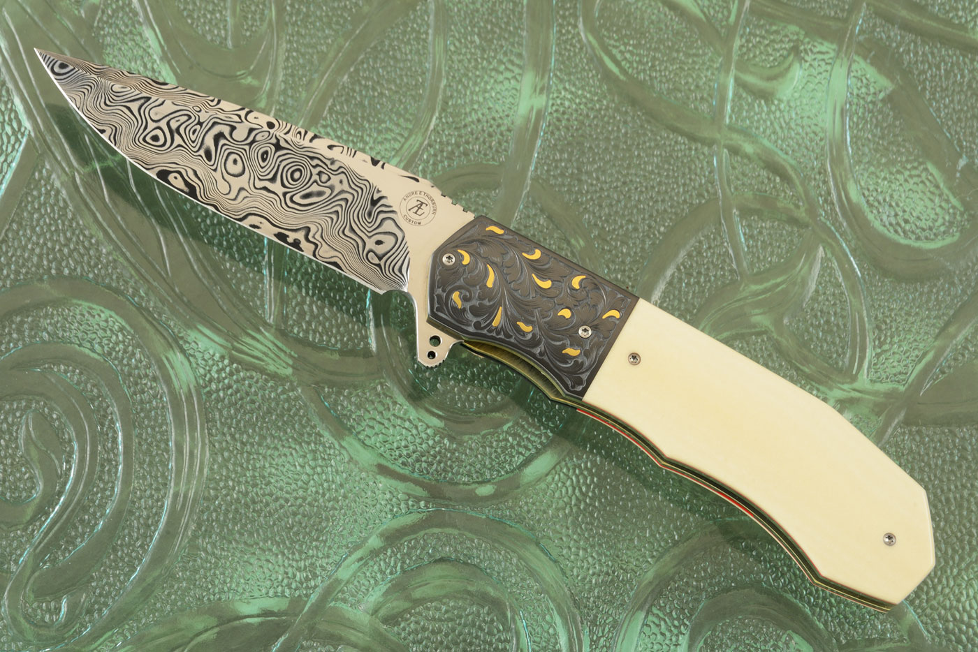 L44 Compact Flipper with Antique Westinghouse Micarta, Damascus, and Engraved Zirconium with Gold Inlays (Ceramic IKBS)