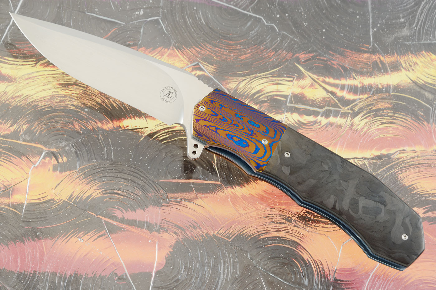 L44 Compact Flipper with Marbled Carbon Fiber and Timascus (Ceramic IKBS)