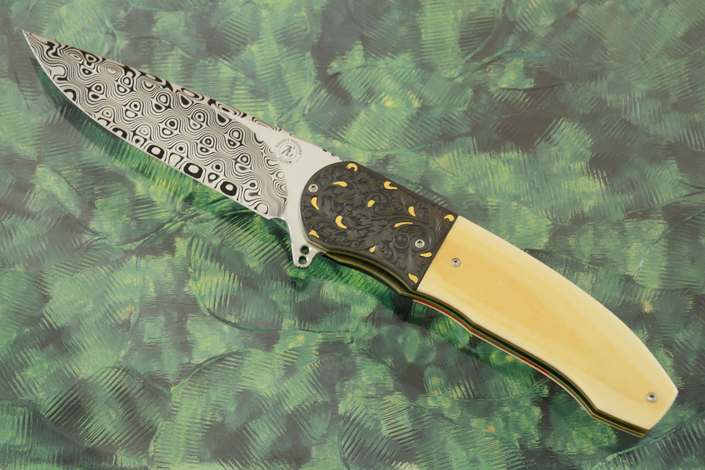 L48 Flipper with Antique Westinghouse Micarta, Damascus, and Engraved Zirconium with Gold Inlays (Ceramic IKBS)