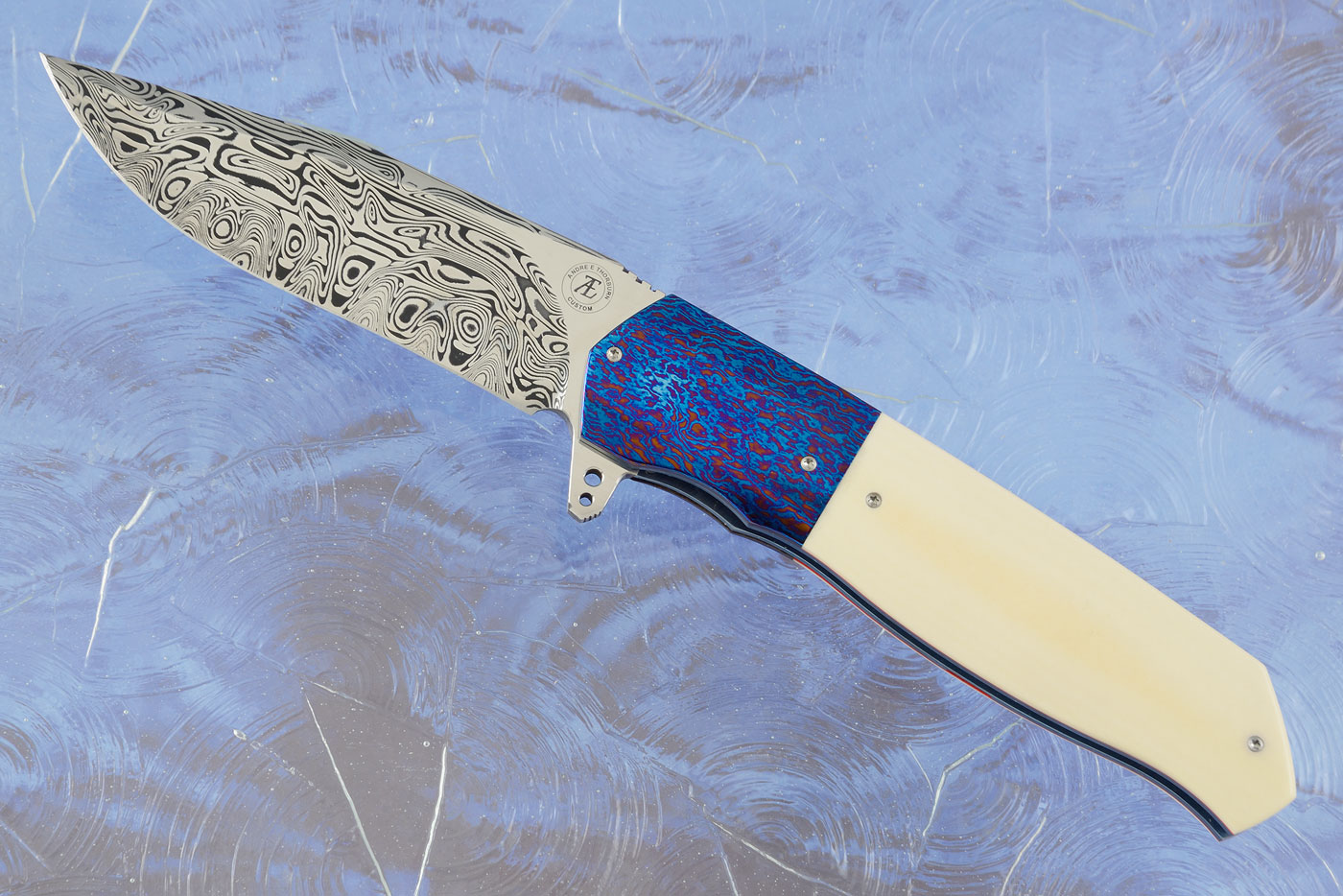 L36M Flipper with Antique Westinghouse Micarta, Damascus and Timascus (Ceramic IKBS)