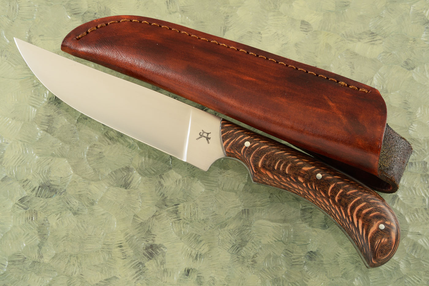 Hunting Knife with Leopardwood