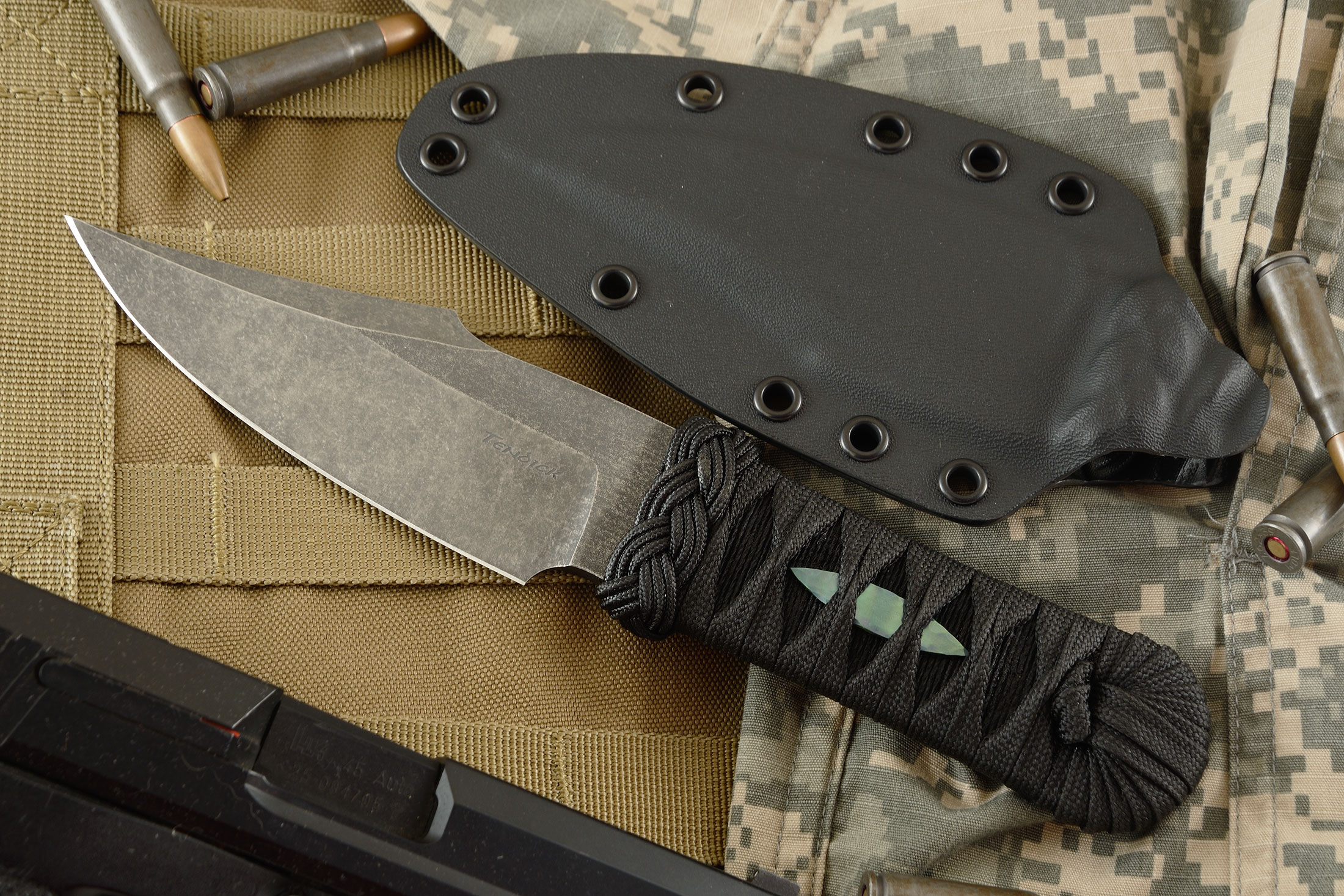Mino Hybrid Bowie With Black Wrap and Titanium Menuki