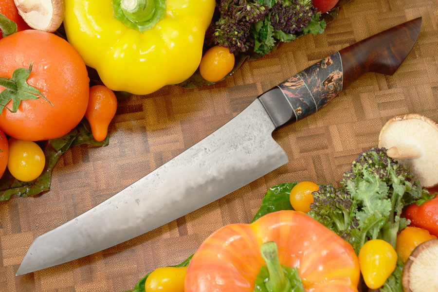 San Mai Chef Knife with Blackwood, Maple Burl, and Ringed Gidgee