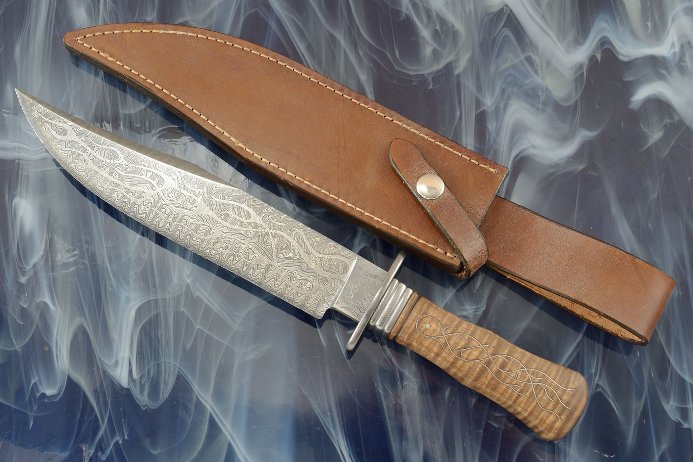 Inferno Bowie<br><i>Best Damascus Knife</i> at the 2008 Arkansas Custom Knife Show