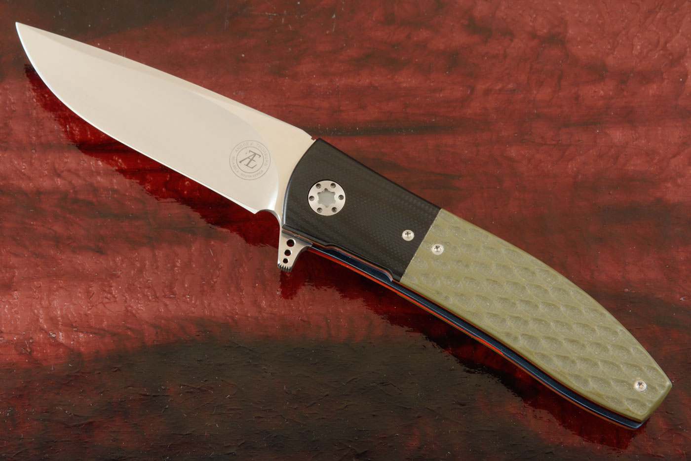 L42 Flipper with Jigged Green and Black G10 (IKBS)